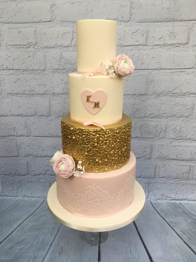 Gold & Pink Flowers Wedding Cake