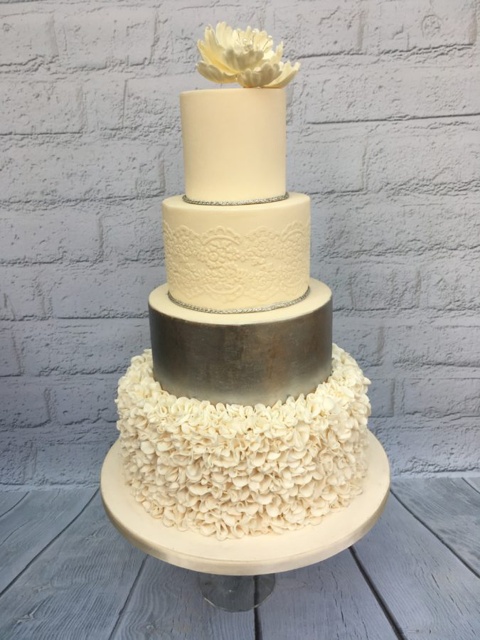Silver Wedding Cake - Dreams and Wishes Cake Company