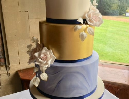 Gold & Navy Marble Wedding Cake