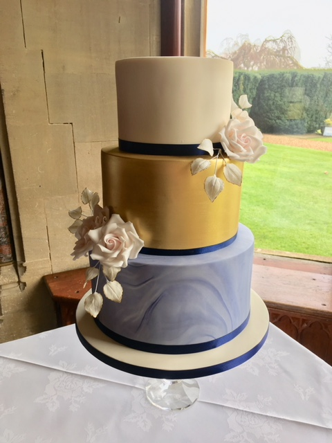 Gold Navy Marble Wedding Cake Dreams And Wishes Cake Company