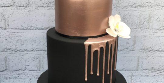 Rose Gold & Black Wedding Cake