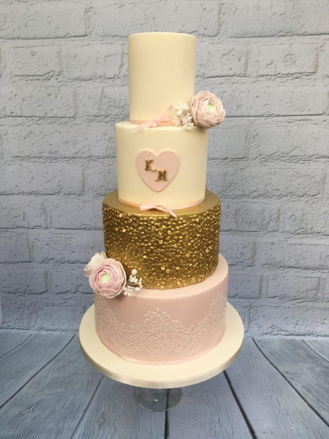 Gold & Pink Flowers Wedding Cake