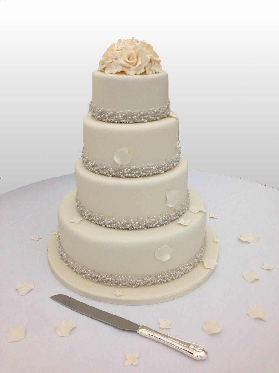 Rose & Pearl Wedding Cake